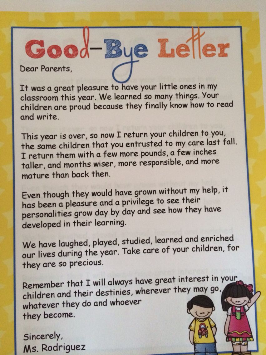 End Of Year Goodbye Letter To Parents