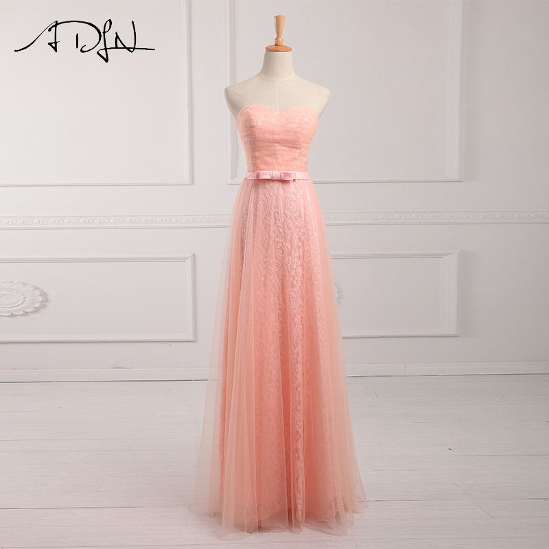 ADLN Sweetheart Sleeveless Lace Coral Colored Bridesmaid Dresses Long  Vestido Madrinha Longo Maid of Honor Dress 35714fb8c1cd
