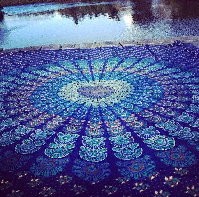 Mandala Throw Beach Blanket New Blue Queen Size From Labels