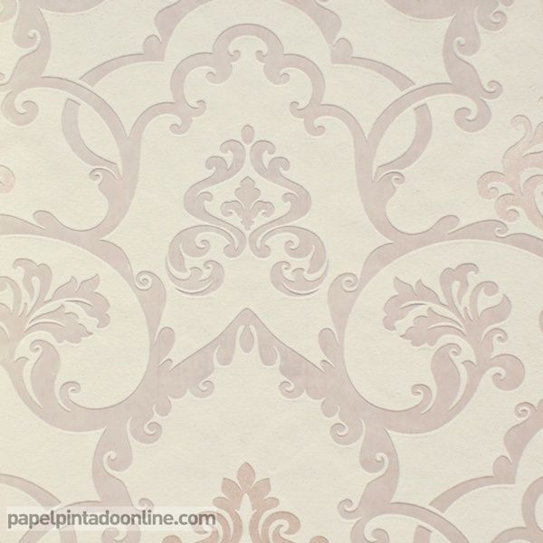 Papel pintado flock 4 95538 2 papel con fondo en color for Papel pintado tonos beige