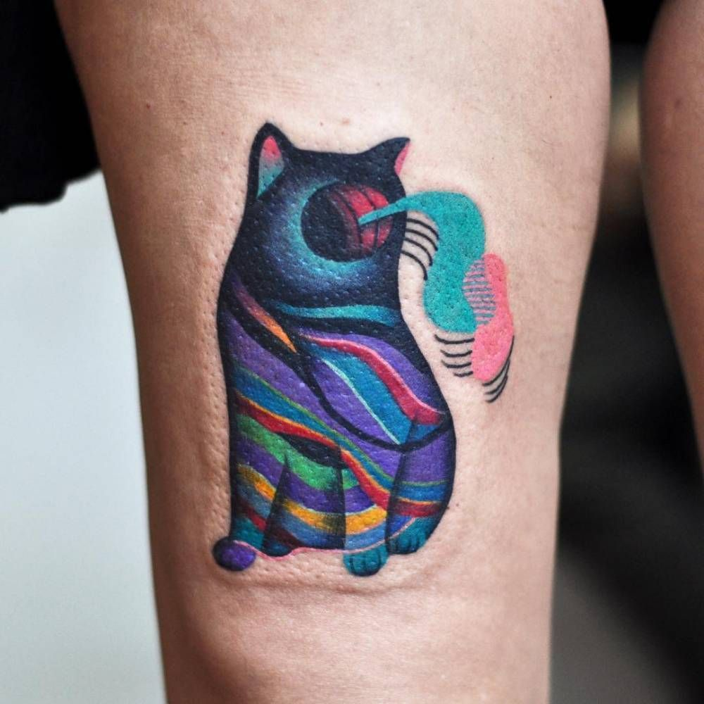Abstract Colorful Cat Tattoo On The Thigh Psychedelic Tattoos Tattoos Surreal Tattoo