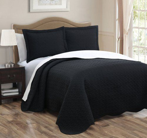3-piece Black White Reversible Bedspread Quilt Set King Size by JHL, http://www.amazon.com/dp/B00DQZDHKQ/ref=cm_sw_r_pi_dp_vc.-rb12YT8CS