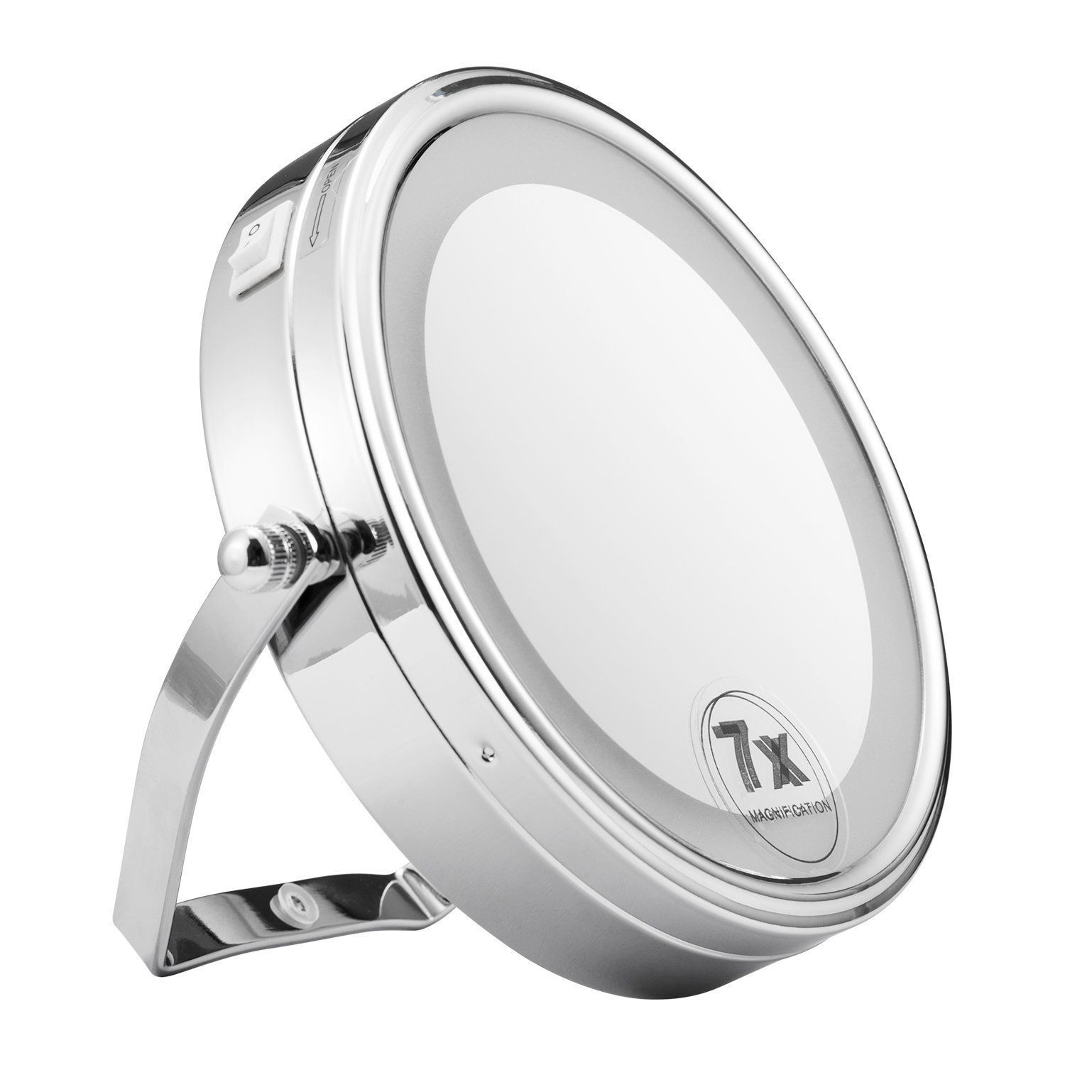 8Inch Lighted Wall Mount Makeup Mirror w/ 5x