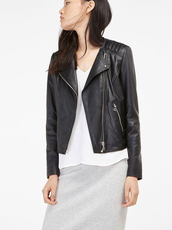 Veste cuir noir femme sans col