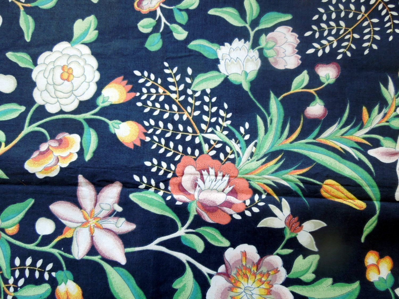 45 Wide Floral Print 1.5 yard piece Vintage  Cotton Tulip Print