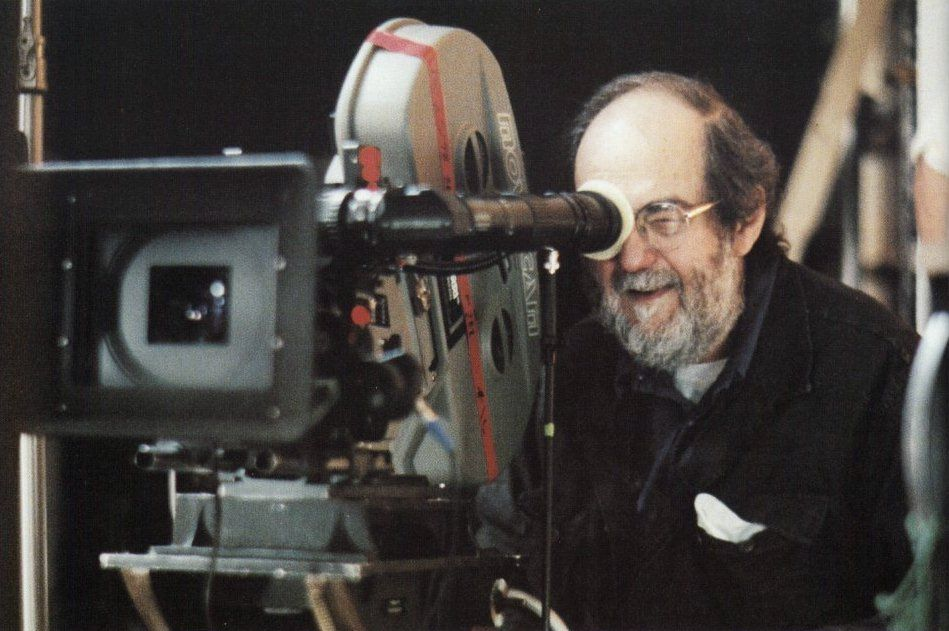 Stanley Kubrick behind the Moviecam Compact on the set of Eyes Wide Shut