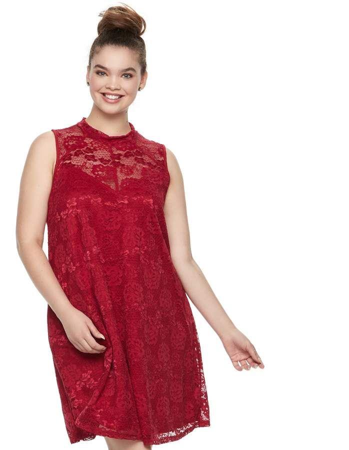 Juniors\' Plus Size Liberty Love Lace Mockeck Dress ...