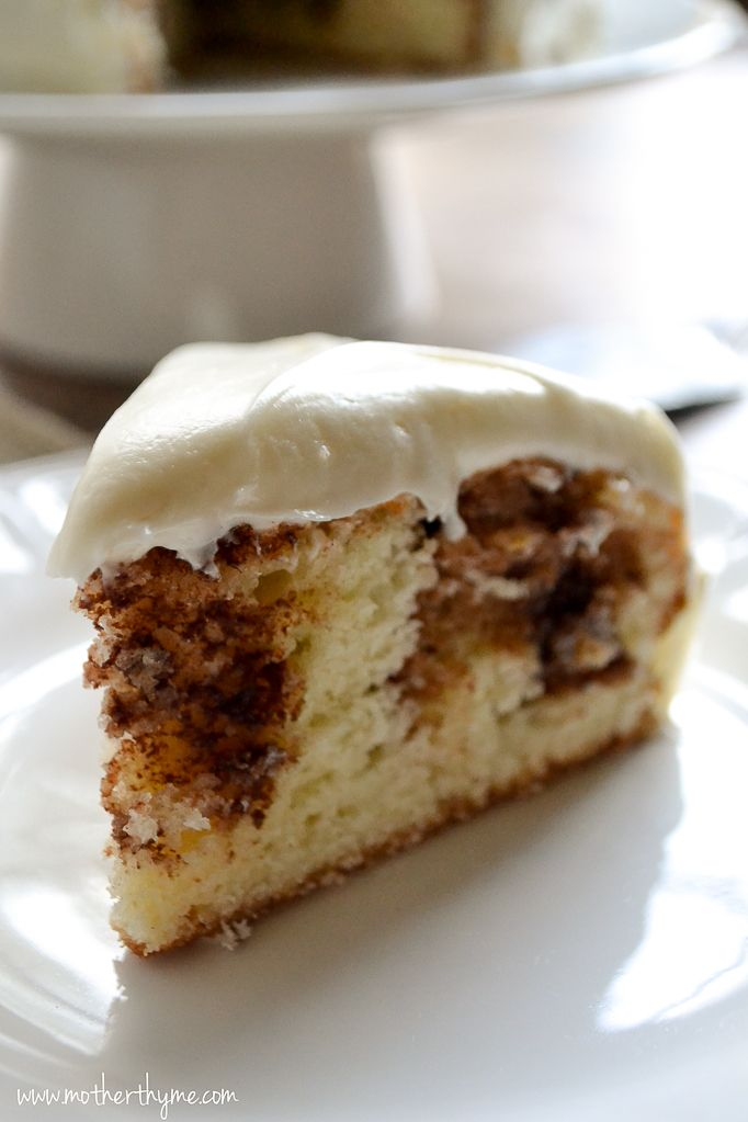 Cinnamon Roll Cake With Cream Cheese Frosting Mother Thyme Recipe Cinnamon Roll Cake Desserts Roll Cake