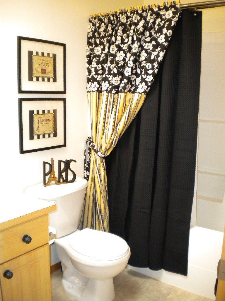 Custom Black White And Yellow Bathroom