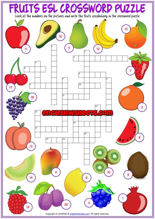 An enjoyable ESL printable crossword puzzle worksheet with ...