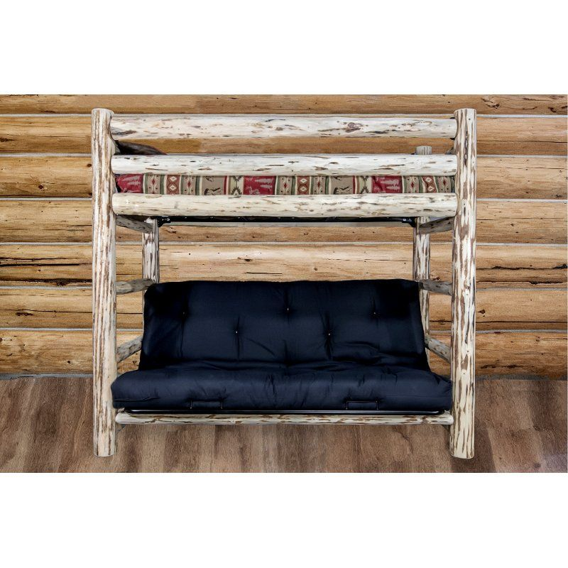 Rustic Clear Lacquered Log Twin Over Full Futon Bunk Bed