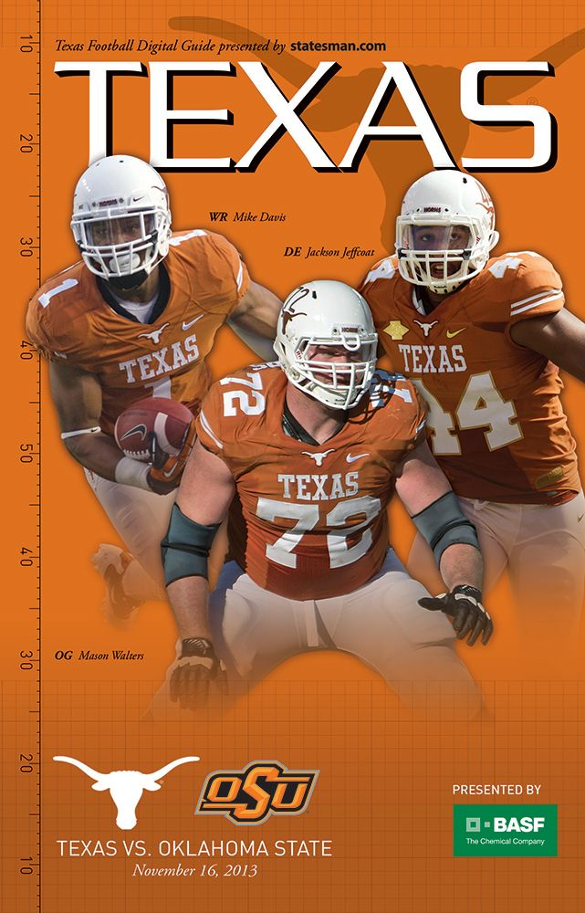 Football Digital Guide Oklahoma State Nov 16 2013 University Of Texas Athletics Texas Football Texas Football Game Oklahoma State