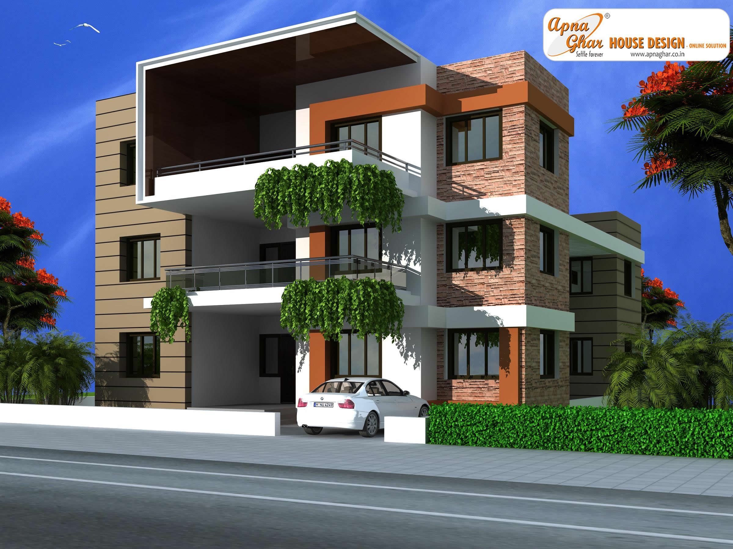 11 bedroom, modern triplex (3 floor) house design. area: 378 sq