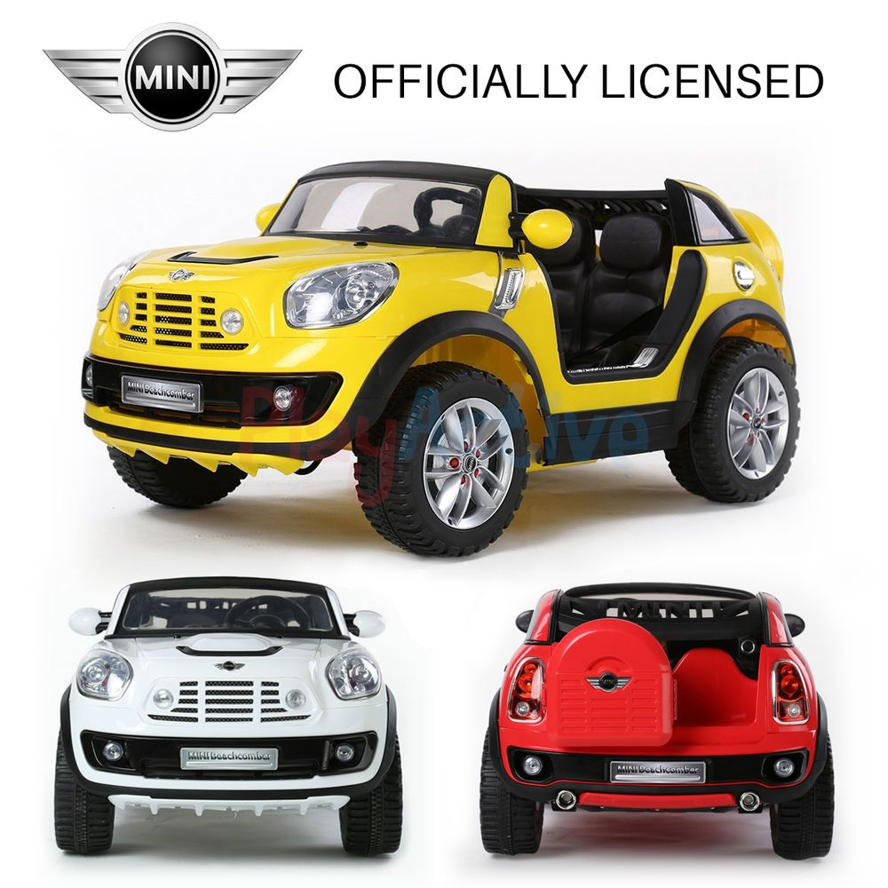mini beachcomber licensed 2 seater 12v kids ride on remote control car cars