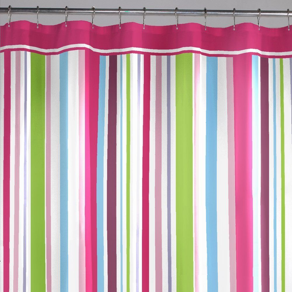 Hot Pink And Colorful Stripes Shower Curtain Green Shower Curtains Pink Shower Curtains Striped Shower Curtains