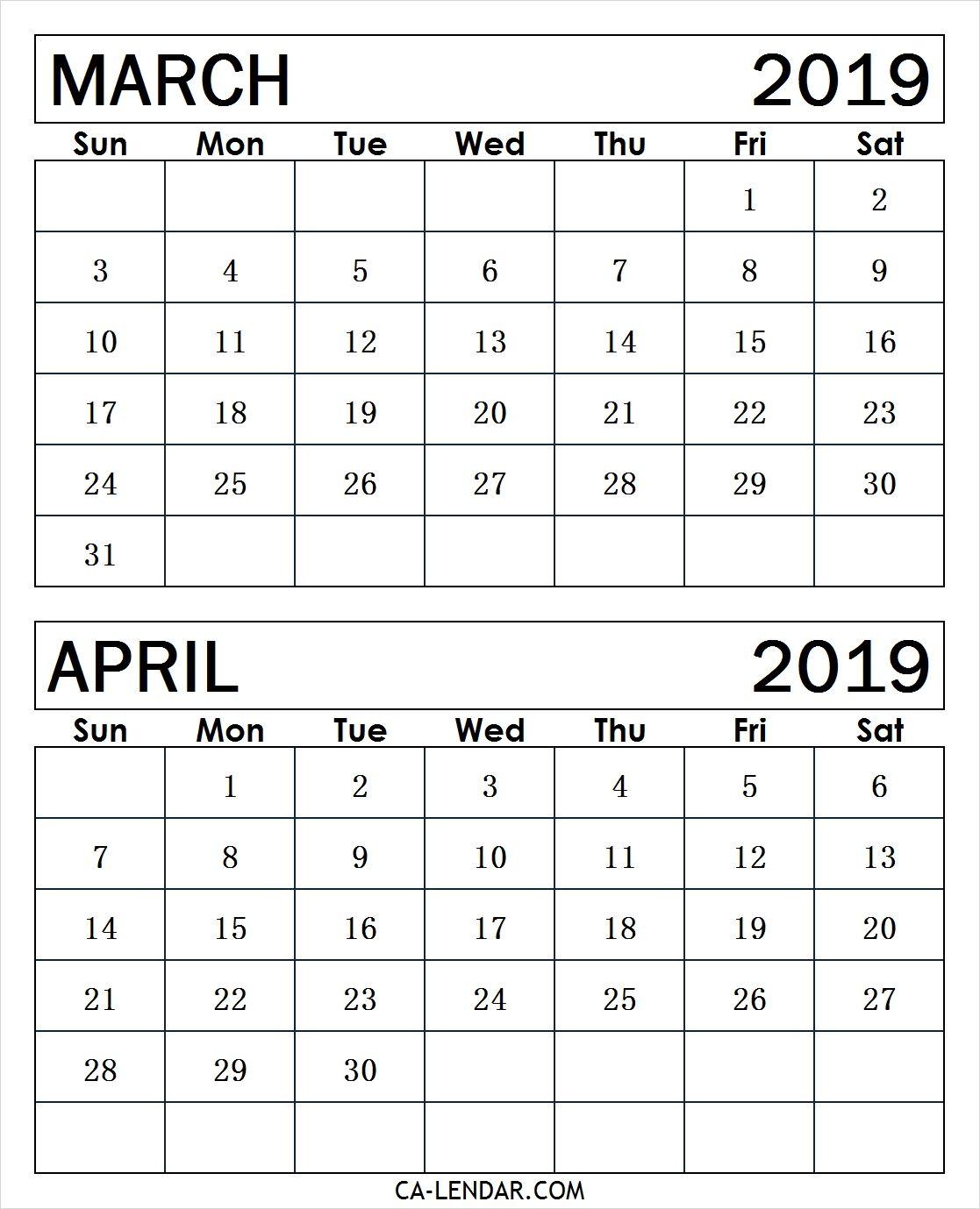 March April Calendar 2019 March2019calendar April2019calendar