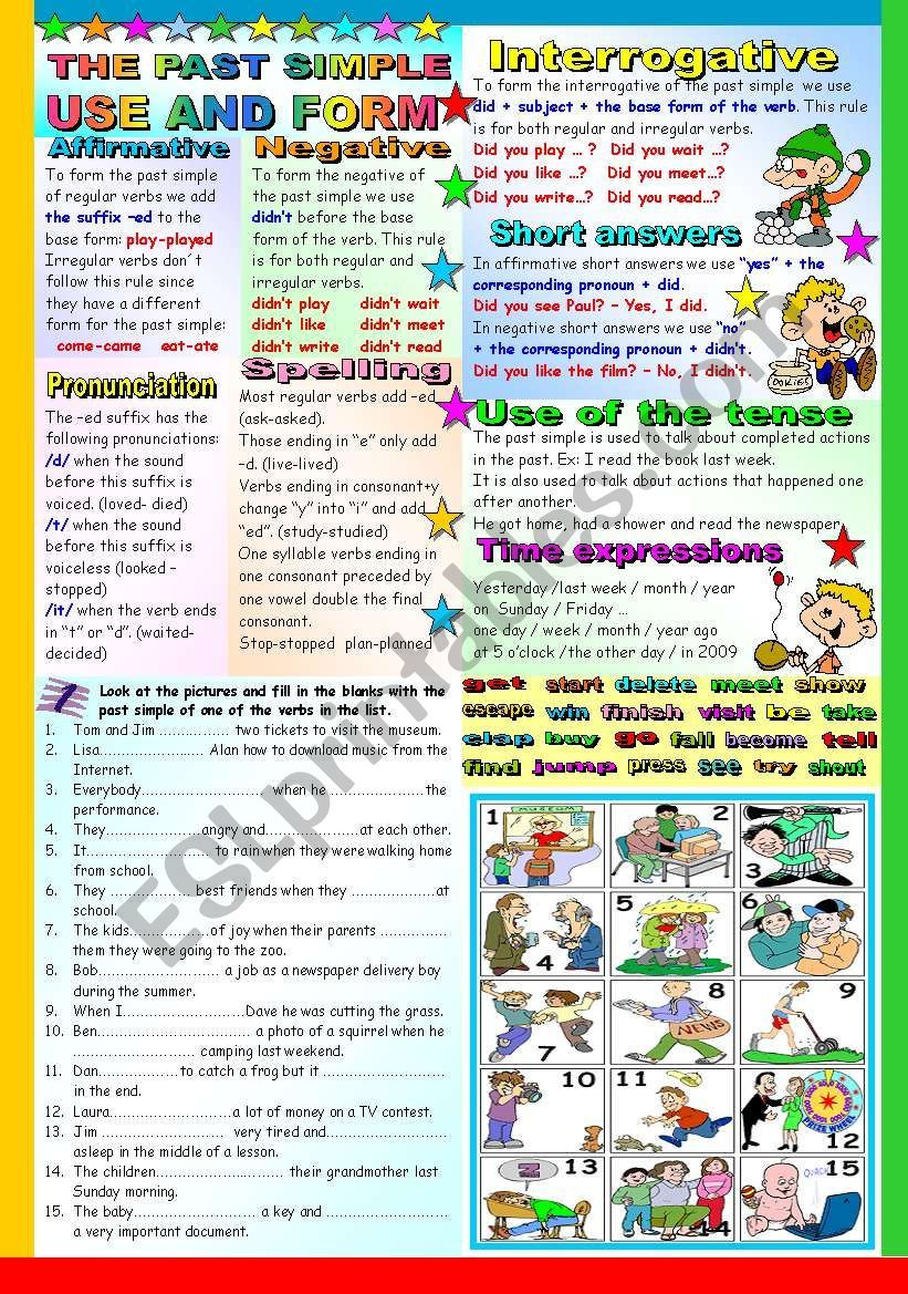 The Past Simple Tense Grammar And Exercises Two Pages B W Version And Key Included Esl Worksheet By Katiana Tenses Grammar Grammar Tenses [ 1169 x 821 Pixel ]