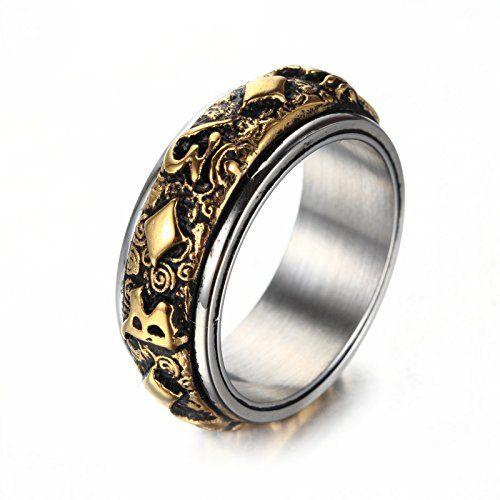 Vintage Men 19MM Gold Plating Rhinestone US Army Anniversary Ring Band Size 8-12