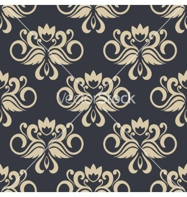 Beige colored floral seamless pattern vector. Damask by Seamartini on VectorStock®