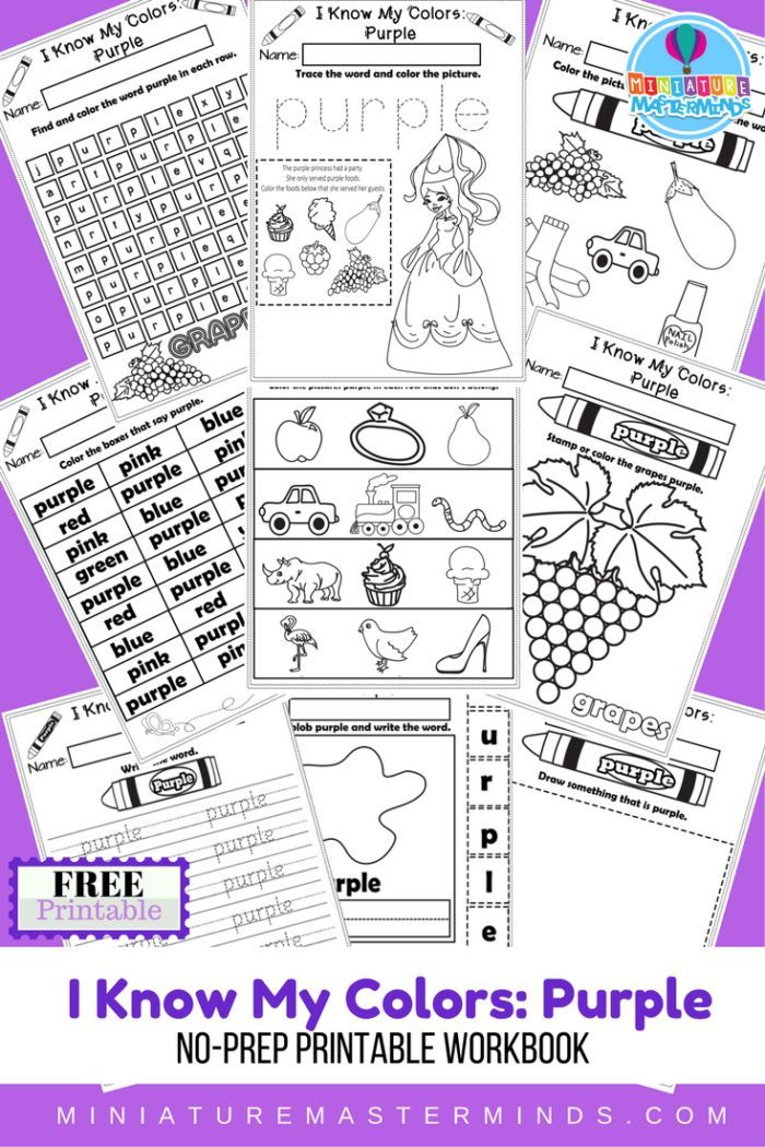 I Know My Colors Printable Work Book Series 9 Page Workbook The