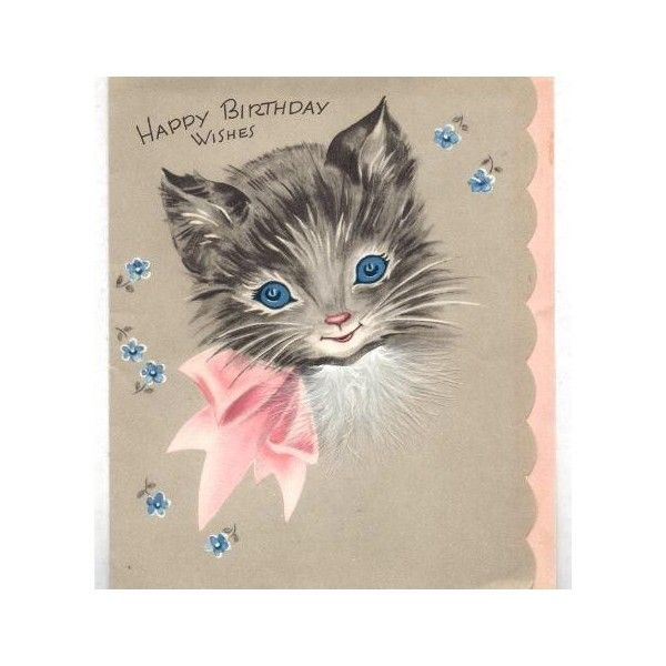 Kitty Cat Vintage Birthday Card Found On Polyvore For Charlottes 2nd