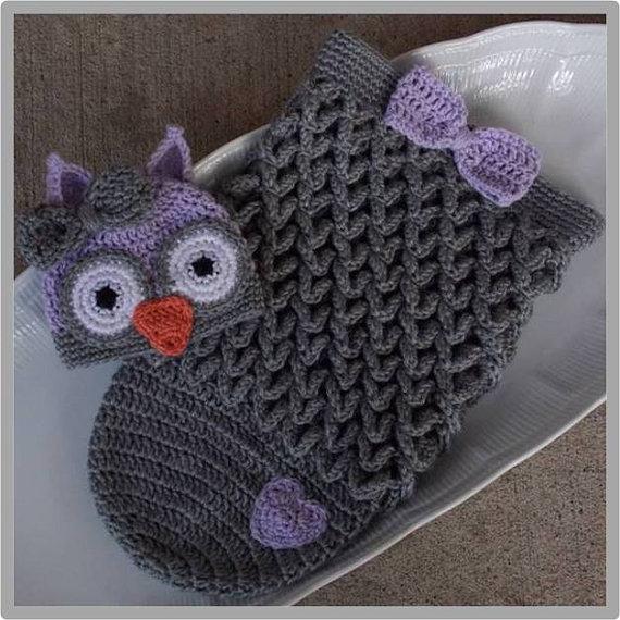 Owl Hat and Cocoon Set ... Crochet Pattern - Size: Newborn ...