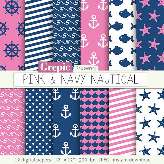 50% Pink navy nautical: Digital paper / navy pink nautical clip ...