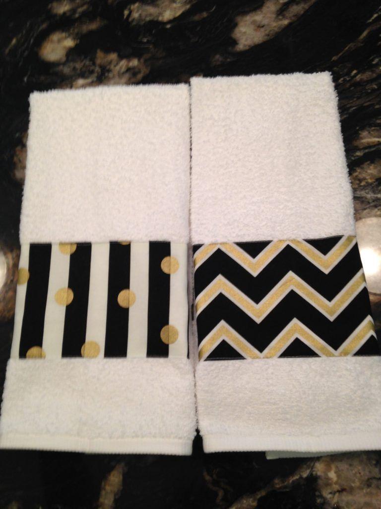 Hand Towel One Black Gold White Chevron On Bathroom Or And Stripes Kitchen Designer