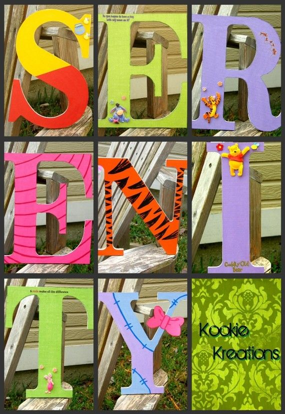 Wooden Decorative Letters Winnie The Pooh