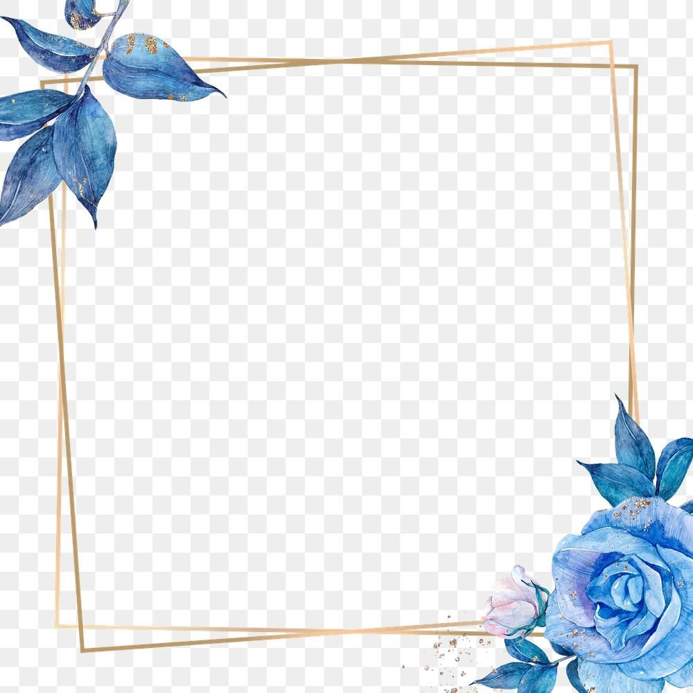 Blue Flower And Gold Frame Png In Watercolor Free Image By Rawpixel Com Adj Blue Flower Png Print Stickers Silhouette Art
