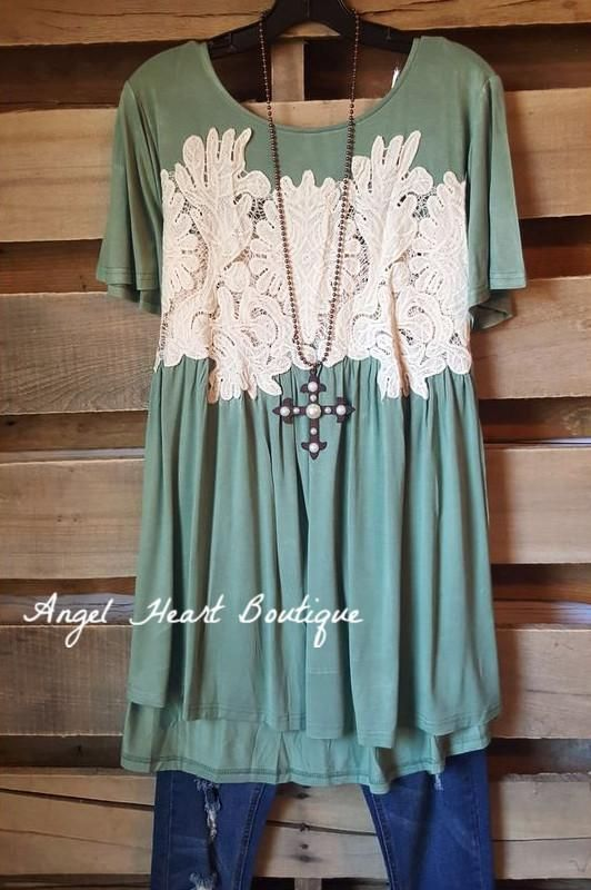 Carefree Confessions Top - Sage - Angel Heart Boutique - Tunic - Angel Heart Boutique