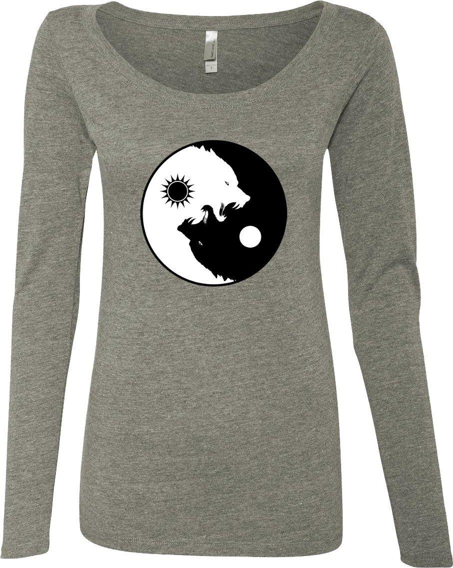Buy Cool Shirts Yin Yang Wolves Yoga Tall Shirt