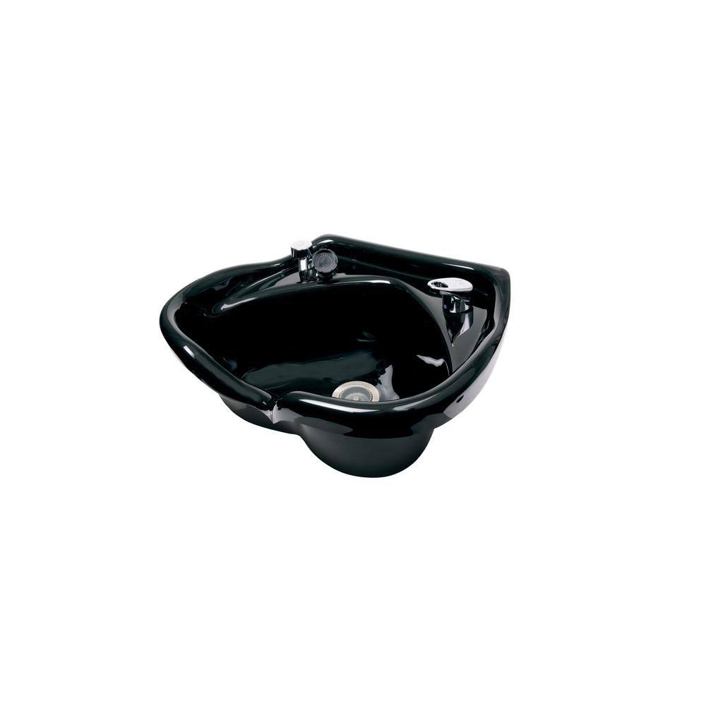 Belvedere Omega 22 1 2 In W X 10 1 4 In D Acrylic Shampoo Sink With 522 Fixture Spray Strainer And Bracket 2100 522 Shampoo Bowls Salon Shampoo Bowls Black Faucet