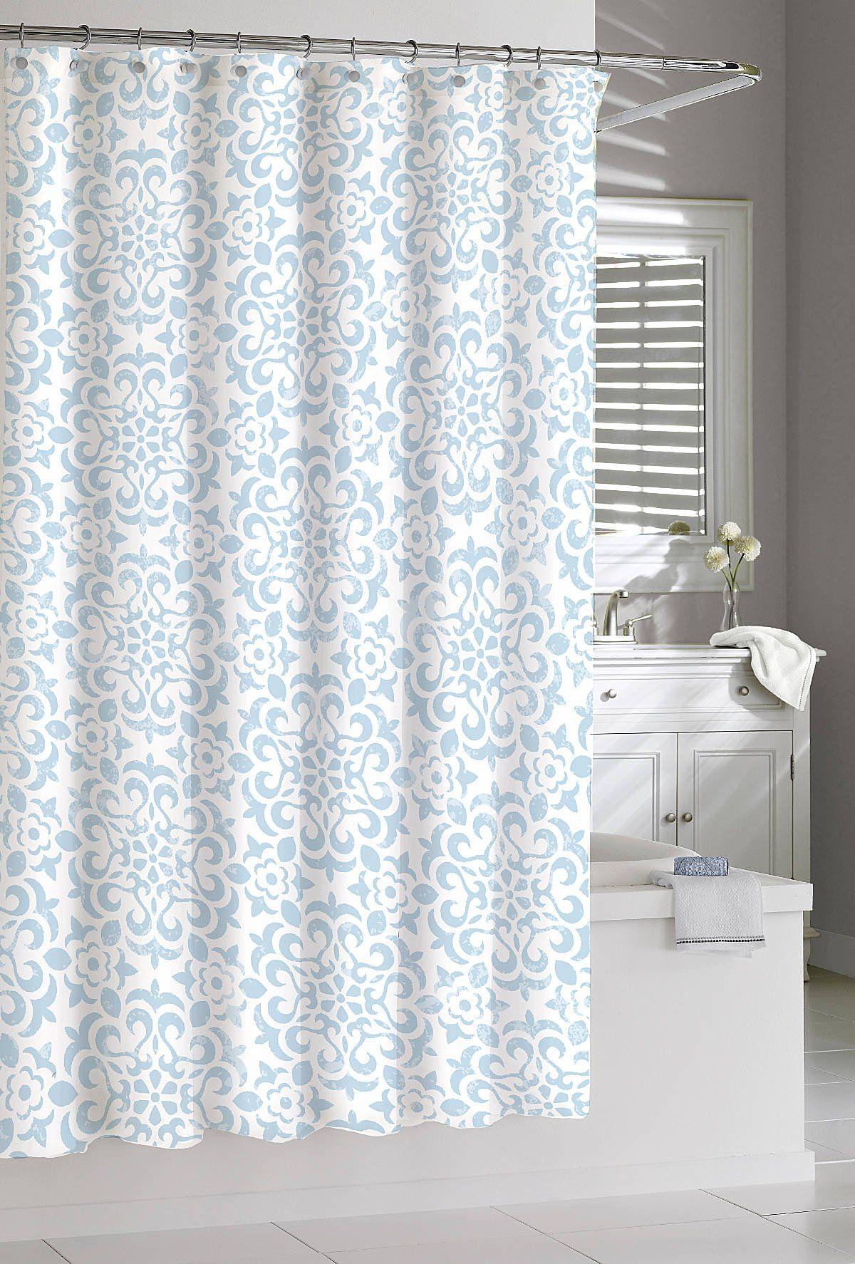 Shower Curtain Kassatex Seawave Medallion Spa Blue 72 X 72 Cotton