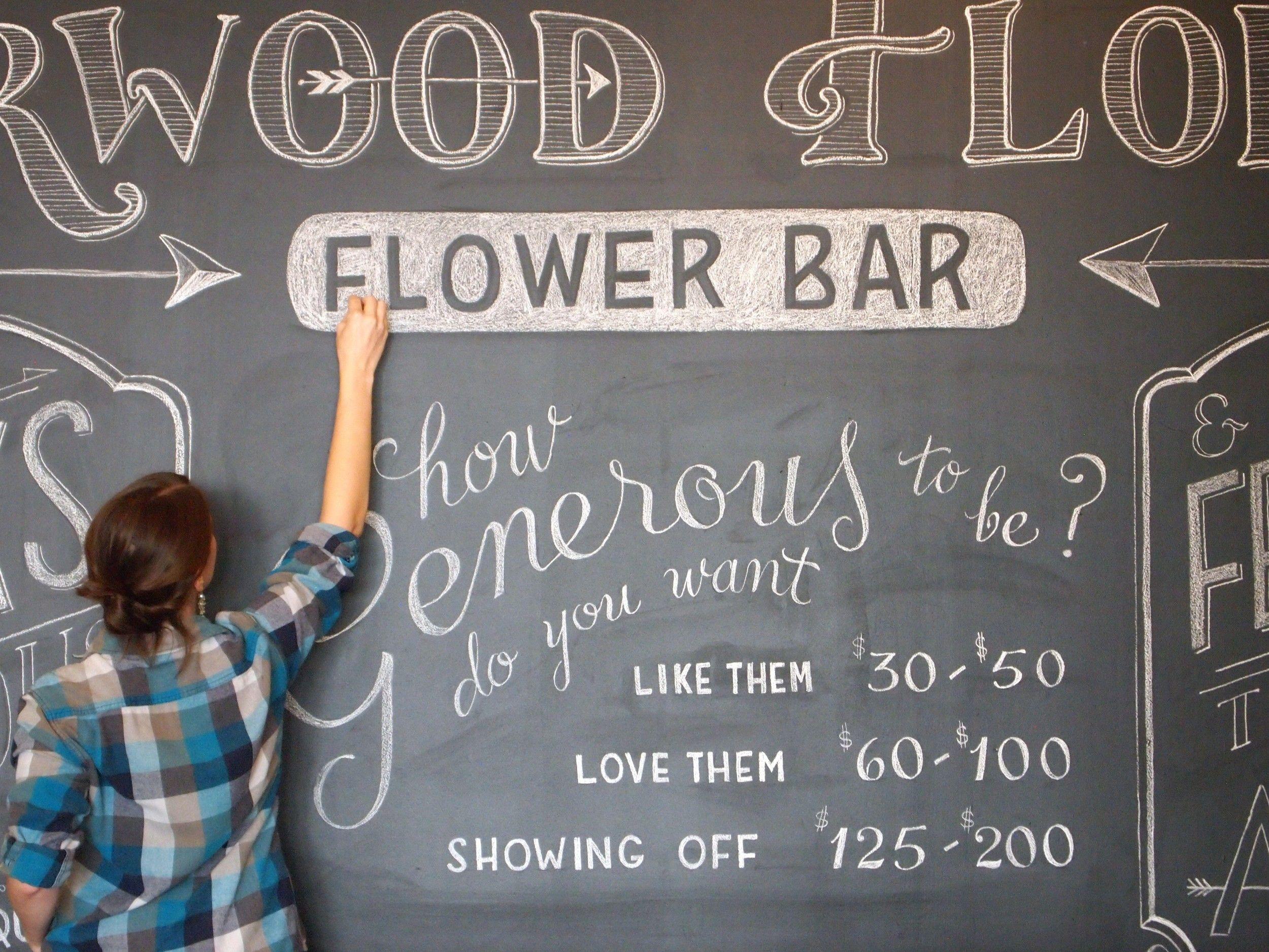 Chalk lettering pricing faq flower shop display