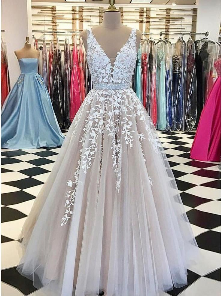 43833a9b83c 2018 A-line Prom Dress Lace V Neck Cheap Long Prom Drsess SKY180 -  DemiDress.com
