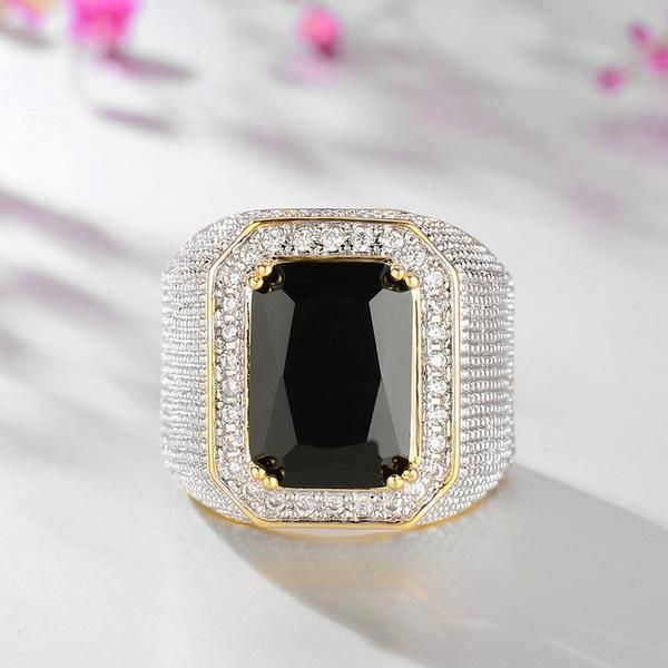 Engagement Rings Okc: Imitated Diamond Ring Hip Hop Domineering Square Sapphire
