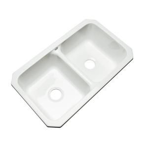 Thermocast Newport Undermount Acrylic 33x19 5x9 In 0 Hole Double Bowl Kitchen Sink In White 40000 Double Bowl Kitchen Sink Sink Undermount Double Kitchen Sink
