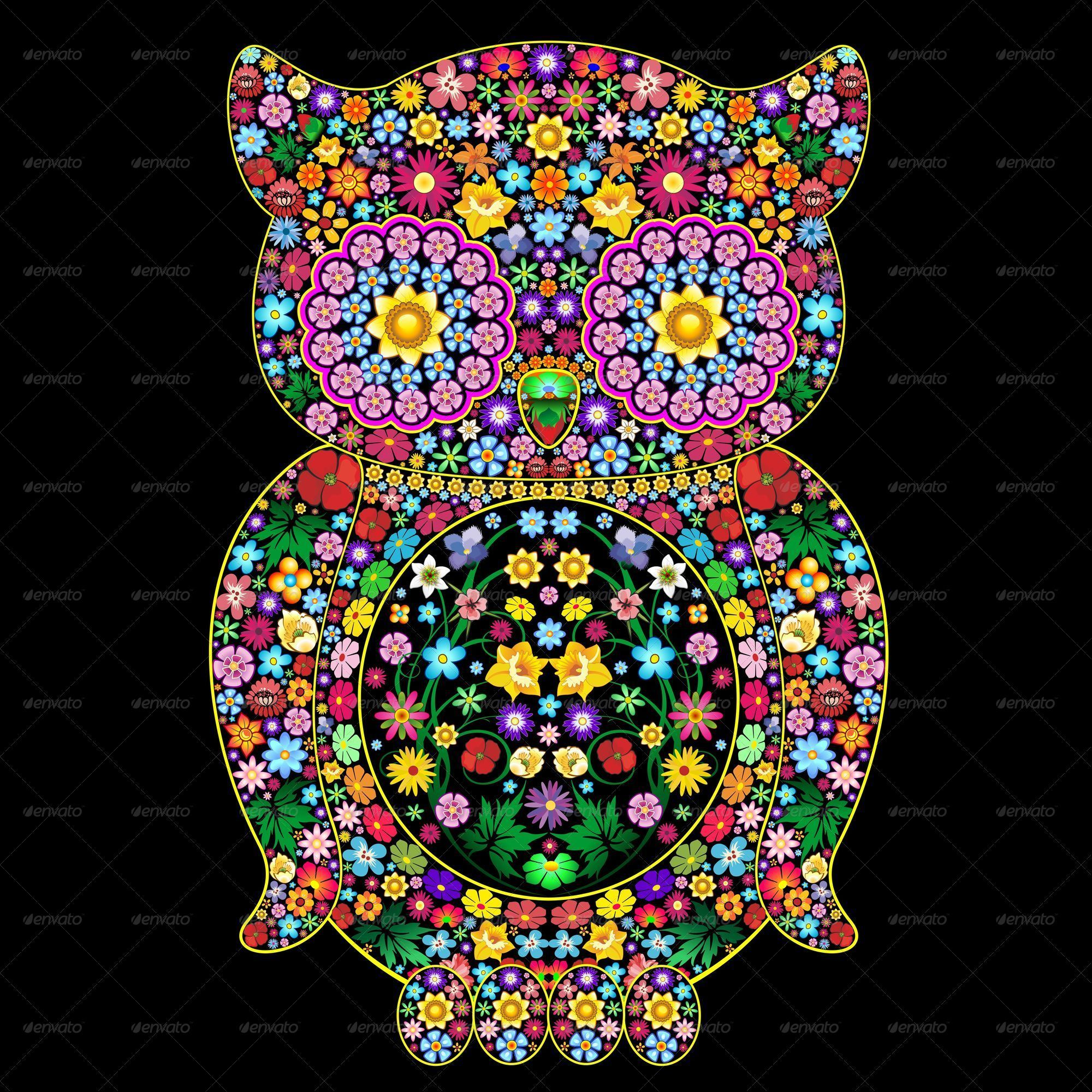 Owl Flowers Ornamental Art Design