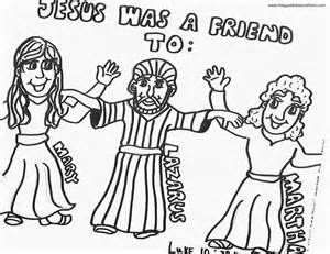 Jesus Lazarus Mary And Martha Coloring Page On Mary Martha Jesus