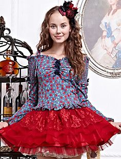 Floverscoming Vintage Meisje Red Dot Pattern Gothic Lolita Blouse
