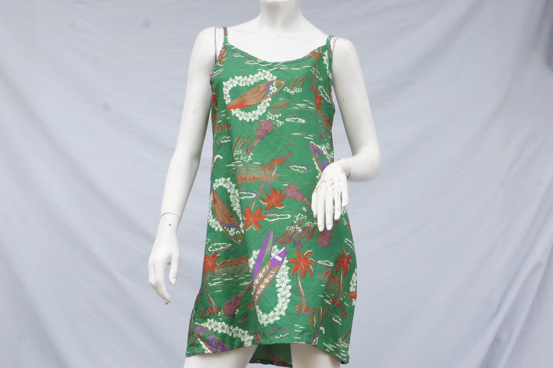 Vintage 90s Surfboard Print Hawaii Mini Dress Beach Boho Mini Dress Beach Dresses Printed Mini Dress