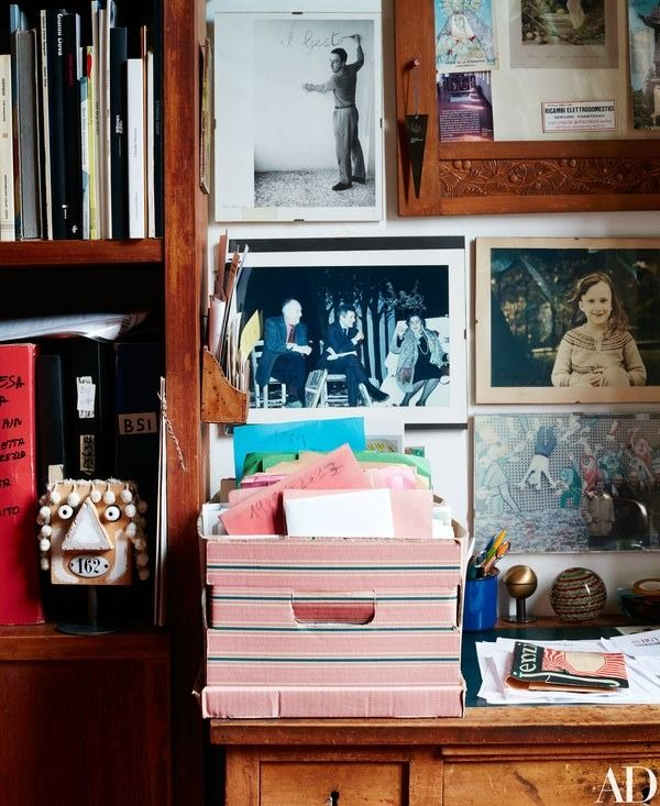 Memorabilia and art in the library   archdigest.com