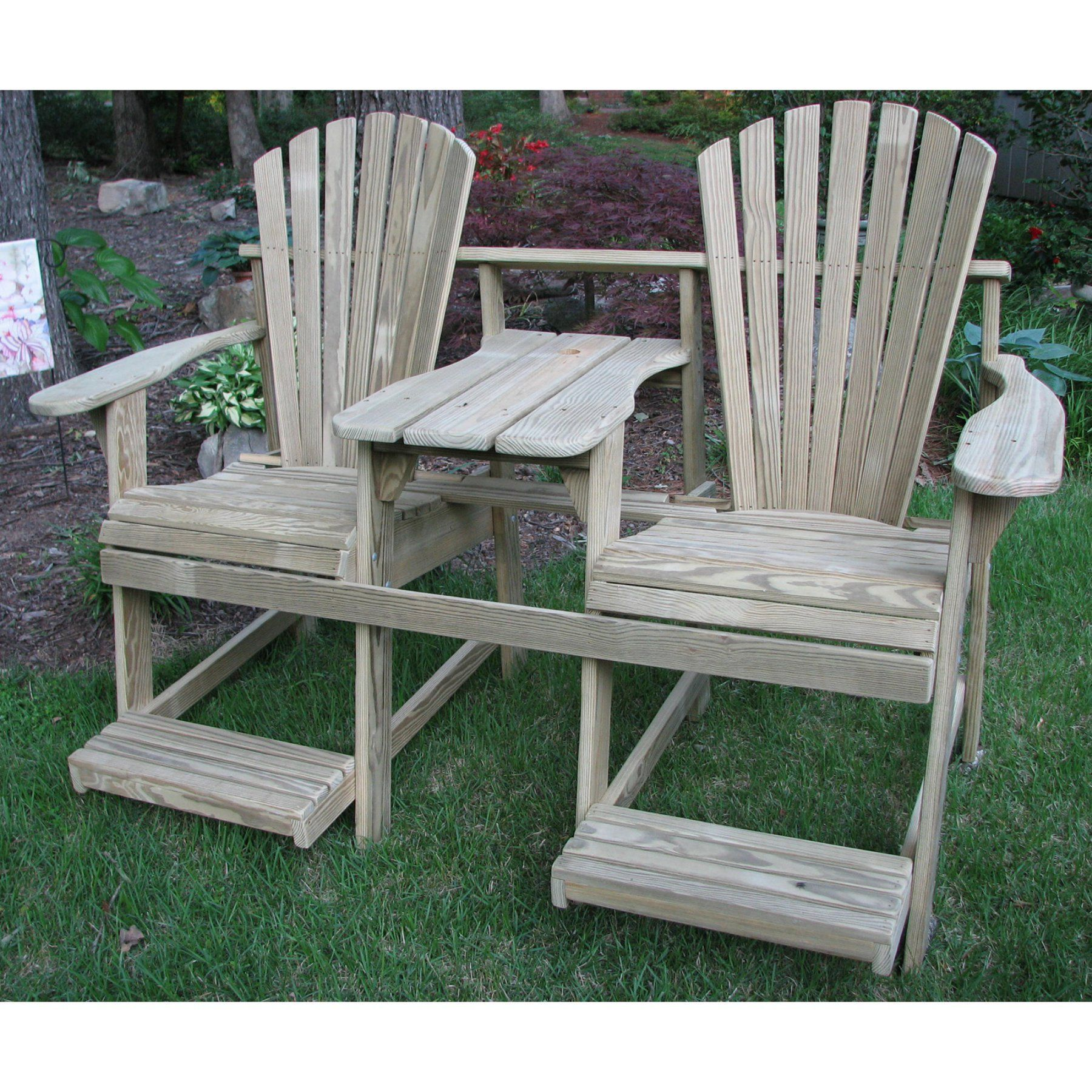 Outdoor Weathercraft Adirondack Double Seater Balcony Height Tete A With Umbrella Hole