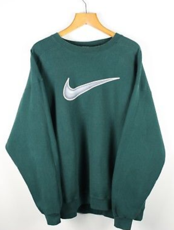 Big Swoosh Sweatshirt Green Nike For 90s Sale Jumper Vintage WFFqTAI