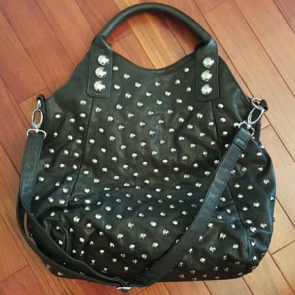Black Leather Silver Studded Handbag Lots Of E Bags Shoulder