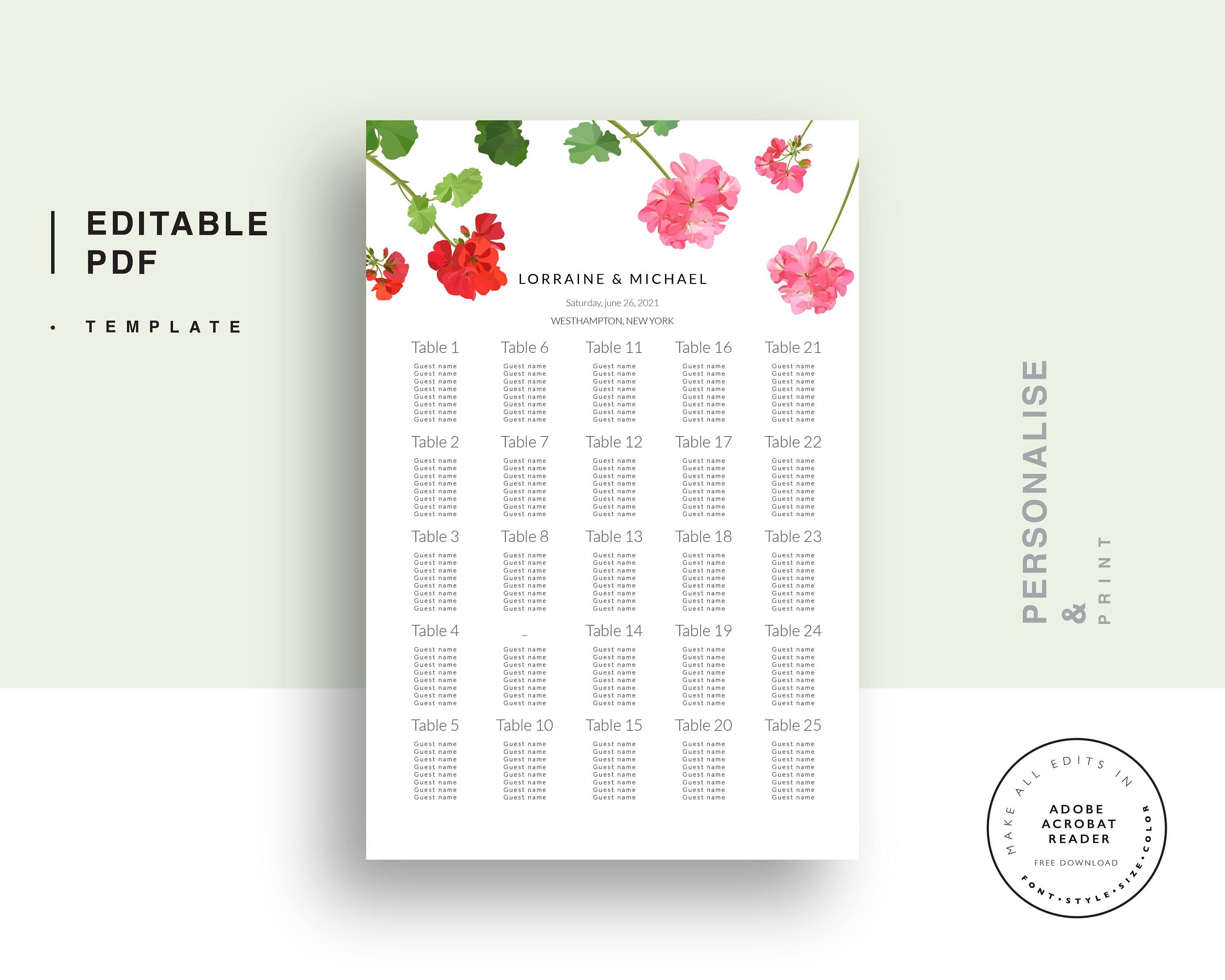 Wedding Seating Chart, Seating Chart Printable, PDF Instant Download ...
