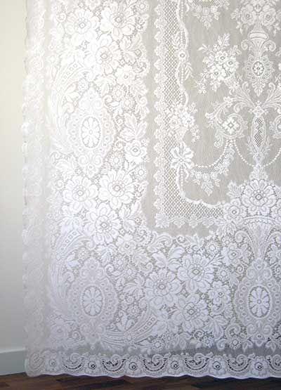 Melrose Cotton Nottingham Lace Curtain Panel Lace Curtains