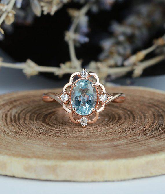 Aquamarine engagement ring vintage Rose gold  oval cut Antique Delicate diamond Half eternity Weddin #aquamarineengagementring