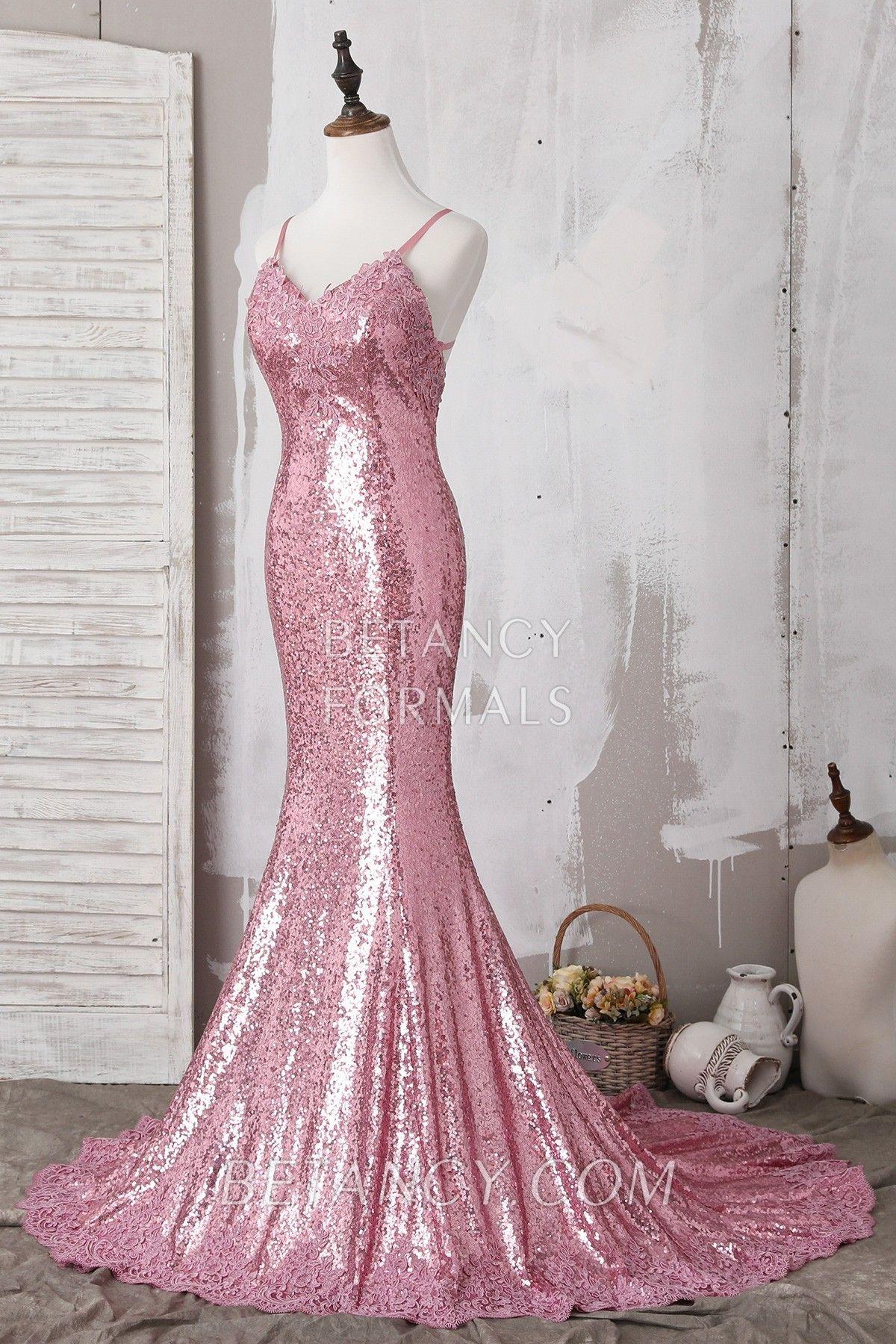 c1298b94b780 Elegant Pink Lace Appliqued Sequin Spaghetti Strap V Neck Mermaid ...